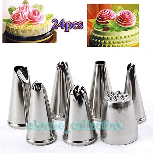 (Christmas Commode - Stainless Steel 24pcs Icing Piping Nozzle Pastry Tips Set Ice Cream Cake Cupcake Decorating - Kitesurf In Custom White Hand Pendent Icing Flower No Silicon Opal Coffee Coff)
