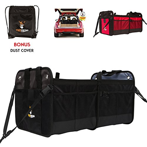 [NEW w/ Straps] Car Trunk Storage Organizer with Straps by Tuff Viking with 11 Extra Pockets, Removable Divider, Expandable side pockets, Collapsible,and Waterproof Interior(Black)