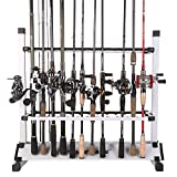 Cheap One Bass Sougayilang Fishiing Rod Rack Metal Aluminum Alloy Fishing Rod Organizer Portable Fishing Rod Holder for All Type Fishing Pole, Hold Up to 12 Rods
