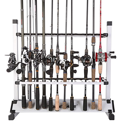 One Bass Fishing Rod Rack Metal Aluminum Alloy Fishing Rod Organizer Portable Fishing Rod Holder for All Type Fishing Pole, Hold Up to 24 Rods