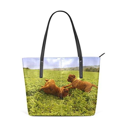 Hombro Bolsos Asas Mujer Mango De Multicolor2 Impresión Bolsa Wo Bulldog Cachorro Deyya Top Francés wxqR1tpx