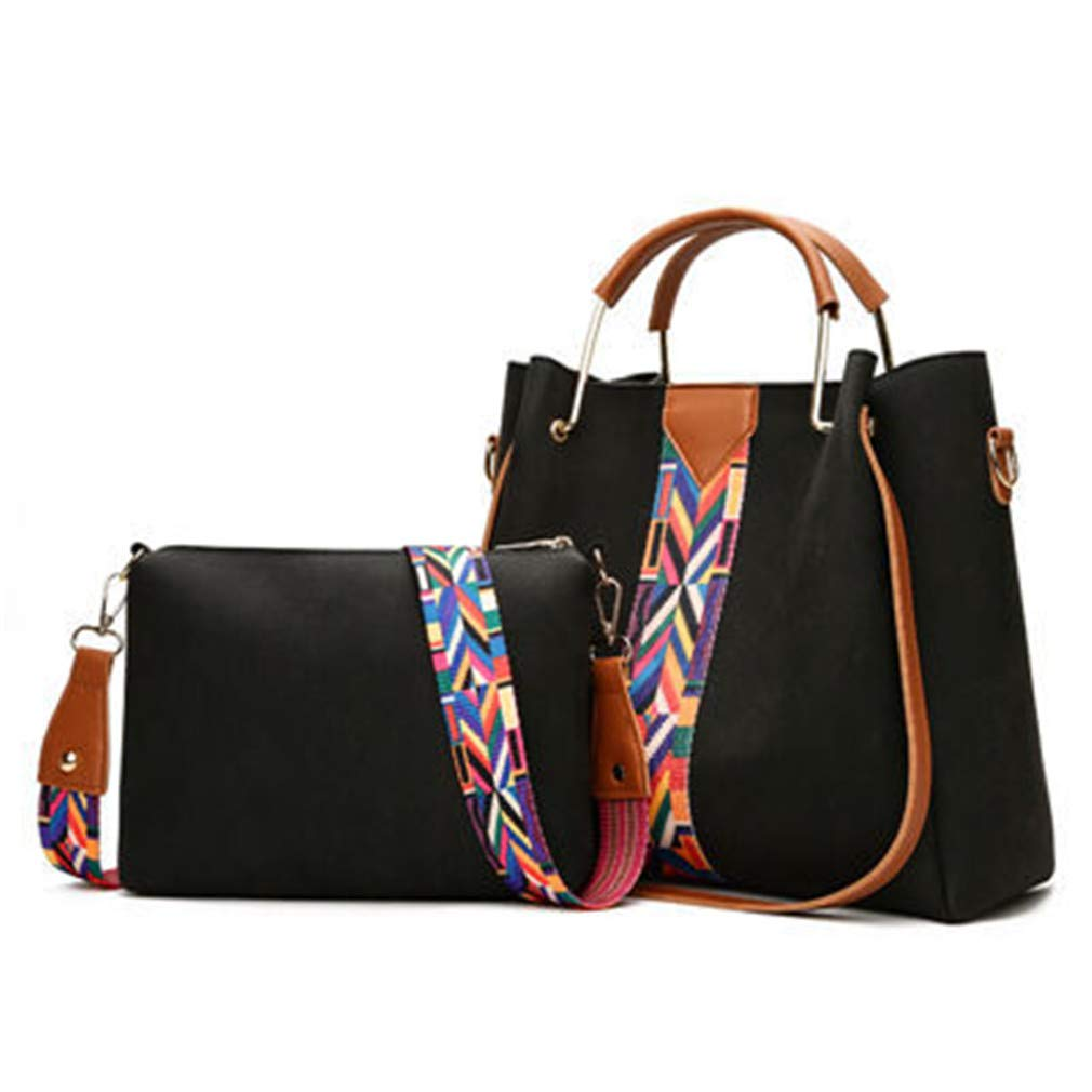 2Pcs Colorful Strap Women Female Luxury Ladies Handbags Pu Leather Crossbody Bags Tote by WUDEF