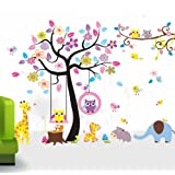 O'plaza ® Huge Size ~ 12' (ft) wide x ~ 5' (ft) Wall Stickers Jungle animals Under the Colorful Owl Flower Tree wall sticker Giraffe/Squirrel/owls/zebra/elephant/Hippo nursery bedroom Kids room removable decal baby bedroom Wall Sticker wall art