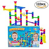 JeberToys Marble Run 122 Pcs - Quality, Thick, Well Made Pieces Allows A Tall & Sturdy Build - Keep Kids Entertained Hours As They Create