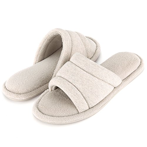 Wishcotton Memory Foam Open Toe Slippers, Cozy Summer House Shoes Beige