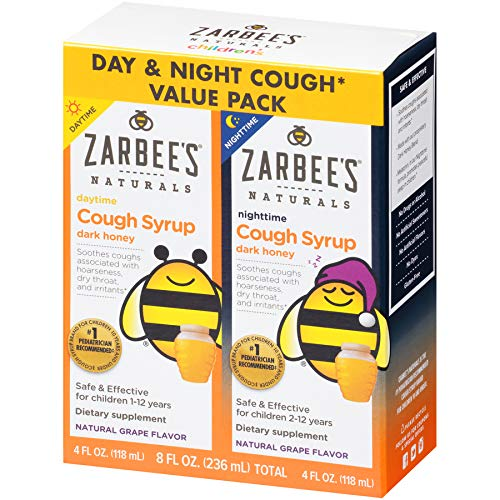 Zarbee's Naturals Children's Cough Syrup with Dark Honey Daytime & Nighttime, Natural Grape Flavor, 4 Ounce Bottles (Value Pack of -