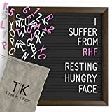 Black Felt Letter Board with Dark Coffee Brown Frame by Titan & Kaizer - 10x10 inch Changeable Letter Board with White Letters & Characters and Pink Letters & Characters (Black)