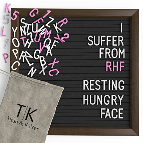 Black Felt Letter Board with Dark Coffee Brown Frame by Titan & Kaizer - 10x10 inch Changeable Letter Board with White Letters & Characters and Pink Letters & Characters (Black) by Titan & Kaizer