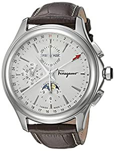 Salvatore Ferragamo Men's 'Time L.E' Swiss Quartz Stainless Steel and Leather Casual Watch, Color:Brown (Model: FFU010016)