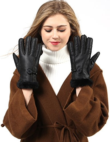 YISEVEN Women's Merino Rugged Sheepskin Shearling Leather Gloves Mittens Sherpa Fur Cuff Thick Wool Lined and Heated Warm for Winter Cold Weather Dress Driving Work Xmas Gifts, Black ()