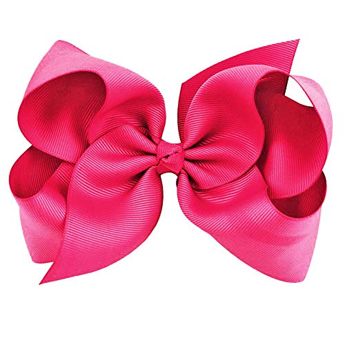 Hot Pink Grosgrain Bow Clip - Extra Large Bows with Alligator Clips by CoverYourHair
