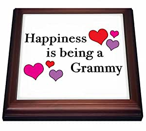 """3dRose trv_223971_1 Happiness Is Being A Grammy Trivet with Ceramic Tile, 8"""" x 8"""", Brown"""