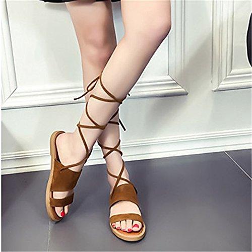 YFF Sandales femmes Confort Printemps occasionnels PU talon plat,NOUS,Kaki6