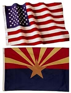 4x6 Embroidered American Flag & 3x5 Arizona Flag Made in the U.S.A. Military Grade Nylon
