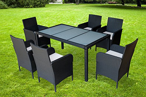 Mcombo Outdoor Patio Wicker Furniture Garden Dining Set w/Cushions 7pc/9pc (7 piece-Glass Table) (Resin Wicker Dining Chairs)