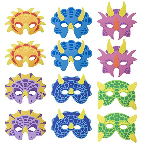Aspire 12PCS Assorted Foam Dinosaur Masks for Party