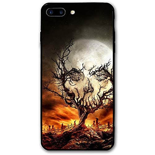 iPhone 7/8 Plus (5.5inch), Custom Design Rubber Case Compatible for iPhone 7/8 Plus Trees Skull Moon Stars Spooky Halloween Sky Night Branch Fence