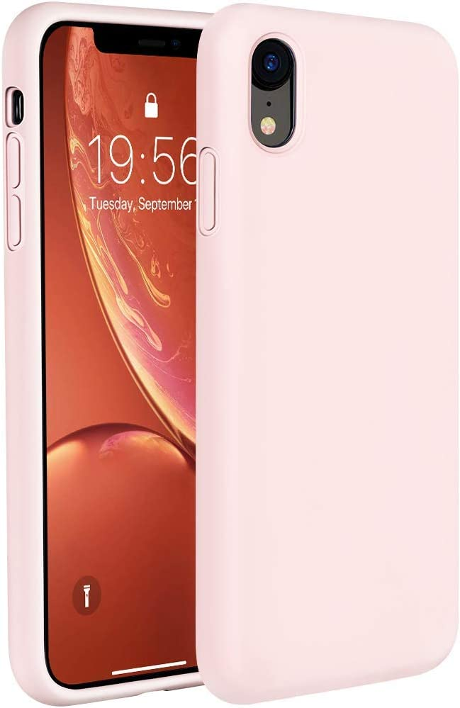 Miracase Liquid Silicone Case Compatible with iPhone XR 6.1 inch (2018), Gel Rubber Full Body Protection Shockproof Cover Case Drop Protection Case(Sand Pink)