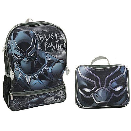 School Panthers Accessories - Marvel Boys' Panther Lunch Kit Backpack, Black, One Size
