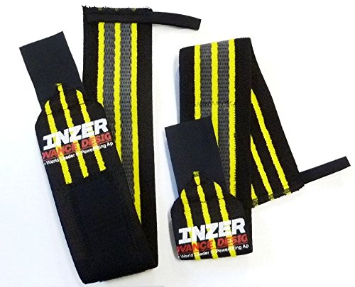 Inzer Gripper Wrist Wraps (Pair) - Powerlifting, Weightlifting, Crossfit (Yellow, Small (12''))
