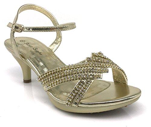 Enzo Romeo PROMI01 Womens Classic Elegant Low Mid Heels Criss Cross X Strap Rhinestone Wedding Party Platform Open Toe Wedge Shoes Gold IPoD8RXoV