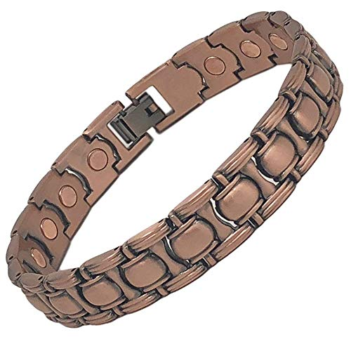 SIX21 Brushed Link Magnetic Copper Bracelet for Arthritis Relief - Pure Copper, 17 Magnets, Adjustable Bangle - for Men and Women (Barbell)