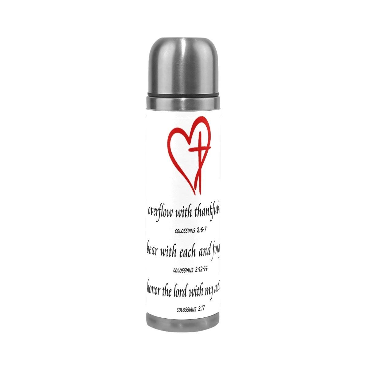 Christian Verse Stainless Steel Water Bottle 17 Oz Leak Proof Double Wall Vacuum Insulated Thermos Flask Genuine Leather Cover