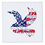 3dRose Alexis Design - America - Silhouette of a bald eagle in flight and the American flag on white - 22x22 inch quilt square (qs_276087_9)