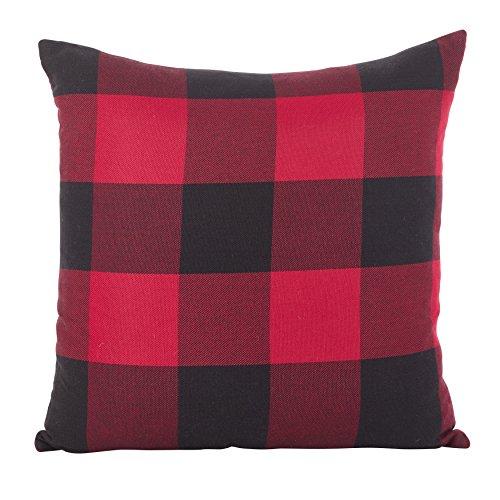 SARO LIFESTYLE Buffalo Check Plaid Design Cotton Down Filled Throw Pillow 20