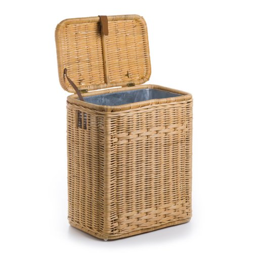 The Basket Lady Wicker Kitchen Trash Basket with Metal Liner, One Size, Toasted Oat