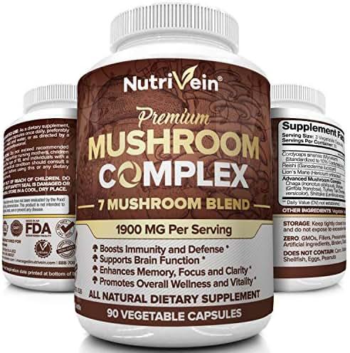 Nutrivein Mushroom Supplement 1900mg - 90 Capsules - 7 Blend Lions Mane, Cordyceps, Chaga, Reishi, Turkey Tail, Maitake, Shiitake - Immune System & Nootropic Brain Booster Complex for Energy & Focus