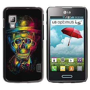 Be Good Phone Accessory // Dura Cáscara cubierta Protectora Caso Carcasa Funda de Protección para LG Optimus L5 II Dual E455 E460 // Design 3D Skull