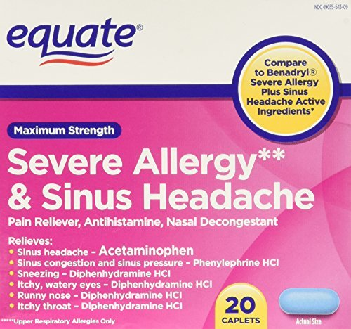 Equate Severe Allergy and Sinus Headache 20 Caplets Compare to Benadryl by (Severe Allergy Caplets)