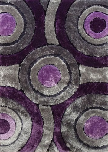 ~5 Ft. x 7 Ft. Grey/Purple Shaggy Living Room Area Rug, Hand-tufted Now On Sale! (Shag Rugs On Sale)