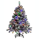 Frosty Flocked Four Foot Holiday Tree with Color Changing LED Lights