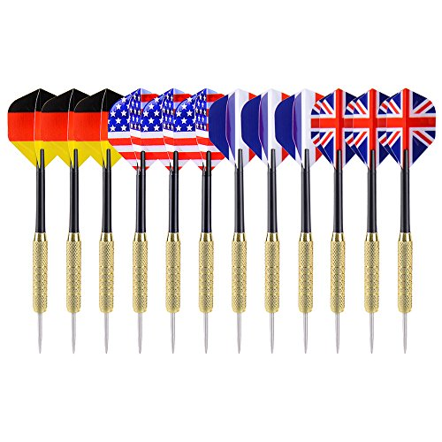 Ohuhu 12 Pcs Tip Darts with National Flag Flights (4 Styles) - Stainless Steel Needle Tip Dart with 3 Free PVC
