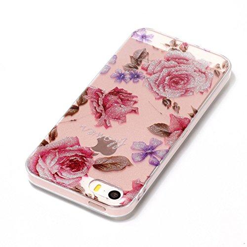 Hülle iPhone 5 5S SE , LH Pfingstrose Blumen TPU Weich Muschel Tasche Schutzhülle Silikon Handyhülle Schale Cover Case Gehäuse für Apple iPhone 5 5S SE