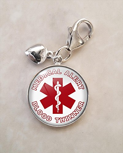 Medical Alert Blood Thinner .925 Sterling Silver Charm