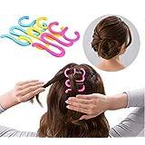 2Pc Random Color Wonder French Magic Hair Clip Braider Braid Stylist Queue Twist Plait Hair Braiding Tool Holder Roller DIY Bun Maker Hairstyle Styling Accessory Fashion Salon (Style 4)
