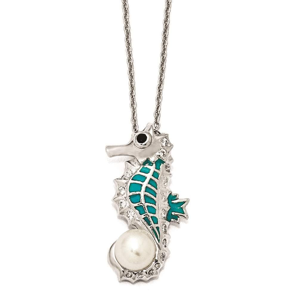 925 Sterling Silver CZ /& Cultured Pearl Enamel Seahorse Necklace 18 Cheryl M