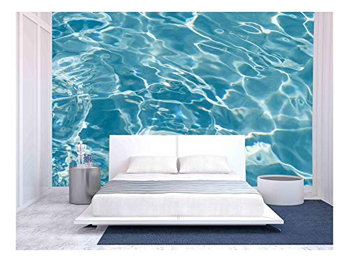 (wall26 - Beautiful Pattern of Blue Water Reflecting the Sun. - Removable Wall Mural | Self-adhesive Large Wallpaper - 100x144 inches)