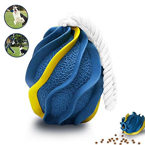 TEMEJA Interactive Dog Chew Toys for Aggressive Chewers, Fetch Training Grenade, Durable Slow Eating Natural Rubber Ball, Blue
