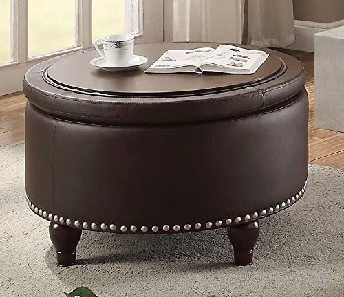 Editors' Choice: Major-Q Brown Faux Leather Reverse Flip up Top Cocktail Ottoman Table