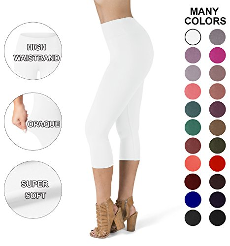 Satina High Waisted Super Soft Capri Leggings - 20 Colors - reg & Plus Size (Plus Size, White)