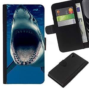 Sony Xperia Z2 D6502 D6503 D6543 L50t L50u , la tarjeta de Crédito Slots PU Funda de cuero Monedero caso cubierta de piel ( Jaws Shark Ocean Blue Sea Predator)