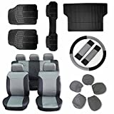 Scitoo 16-PCS Car Floor Mats W/Trunk Liner Black/Gray Car Seat Cover W/Steering Wheel Cover for Heavy Duty Vans Trucks