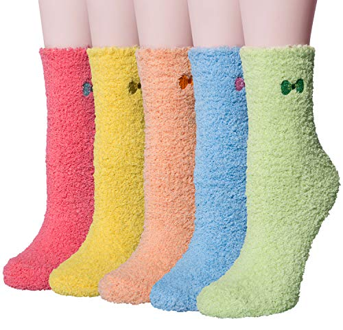 Loritta 5 Pack Women Girls Soft Socks Winter Warm Fuzzy Hosi
