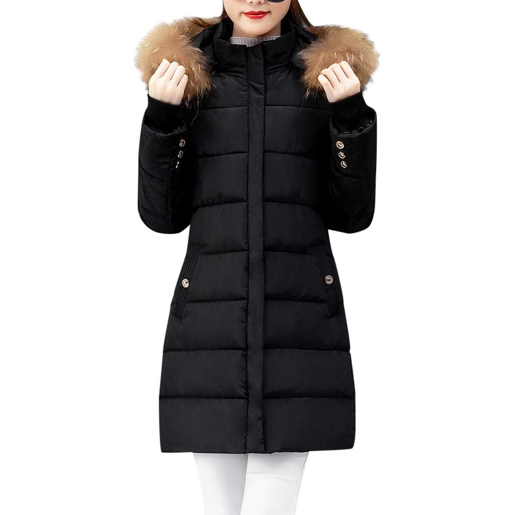 TIFENNY Thicken Outcoat for Women Winter Warm Thick Outerwear Hair Collar Zip Coat Slim Cotton-Padded Long Jacket Hooded by TIFENNY_Shirts