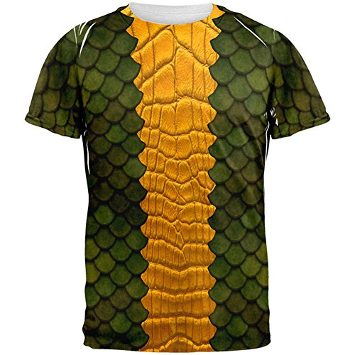 Dragon Costumes For Adults (Halloween Green Dragon Costume All Over Adult T-Shirt - X-Large)