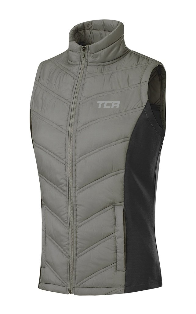 TCA Women's Excel Runner Thermal Lightweight Running Vest/Bodywarmer with Zip Pockets - Cool Grey/Asphalt, M